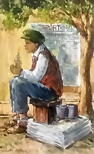 andre-de-beer--&quotsitting-newspaper-seller""